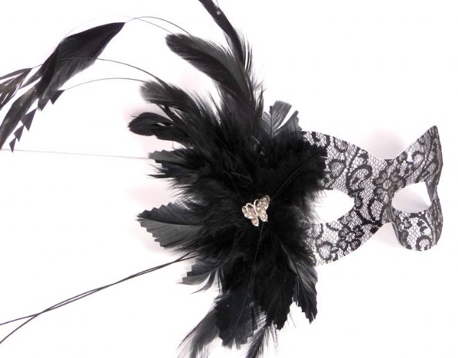 Burlesque style masquerade lace feather flower mask